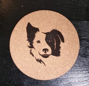Laser engraved border collie coaster